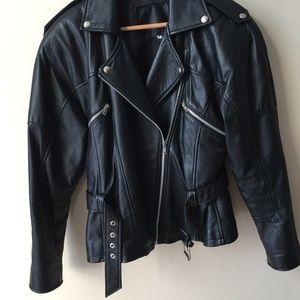 Jackets & Blazers - Black Leather Moto Jacket w/Belt